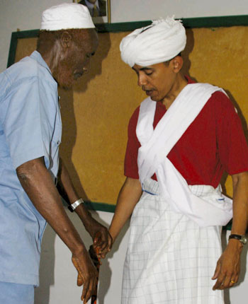 Obama in traditional garb