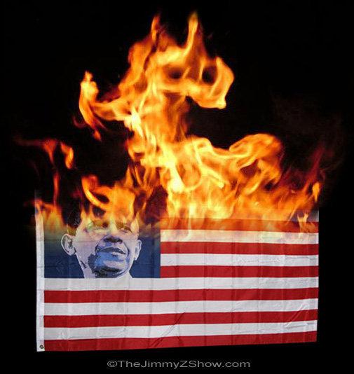 obama burning flag