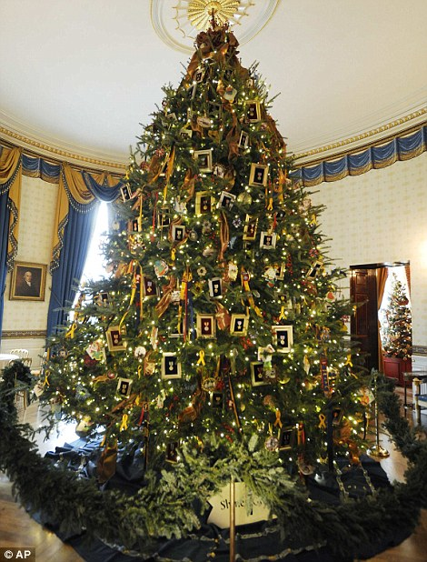 2011 the blue room christmas tree seen from the cross hall of the white house left features cards written by children of us military members and - 15 Foot Christmas Tree